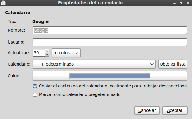 Dos formas de sincronizar Evolution con Google Calendar (2/5)